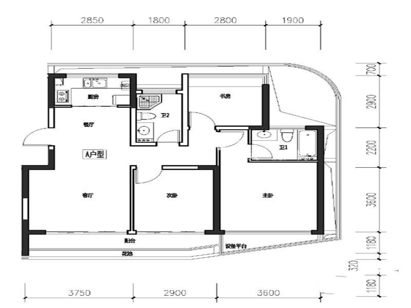 A户型 3室2厅2卫 建筑面积104㎡.jpg