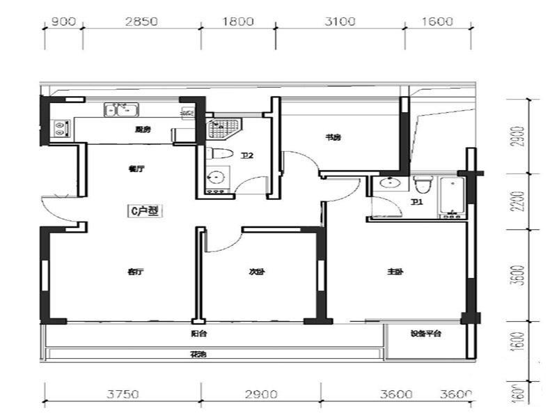 C户型 3室2厅2卫 建筑面积101㎡.jpg