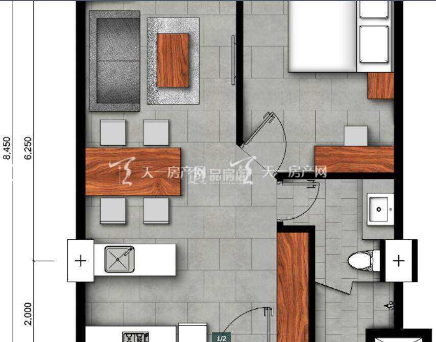 A户型 1房1厅1卫 (建筑面积) 50㎡.jpg