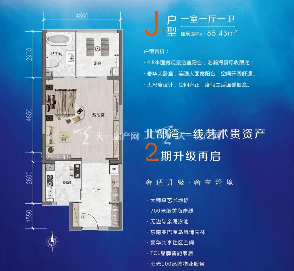 j1户型一室一厅一卫建筑面积65.43㎡.jpg