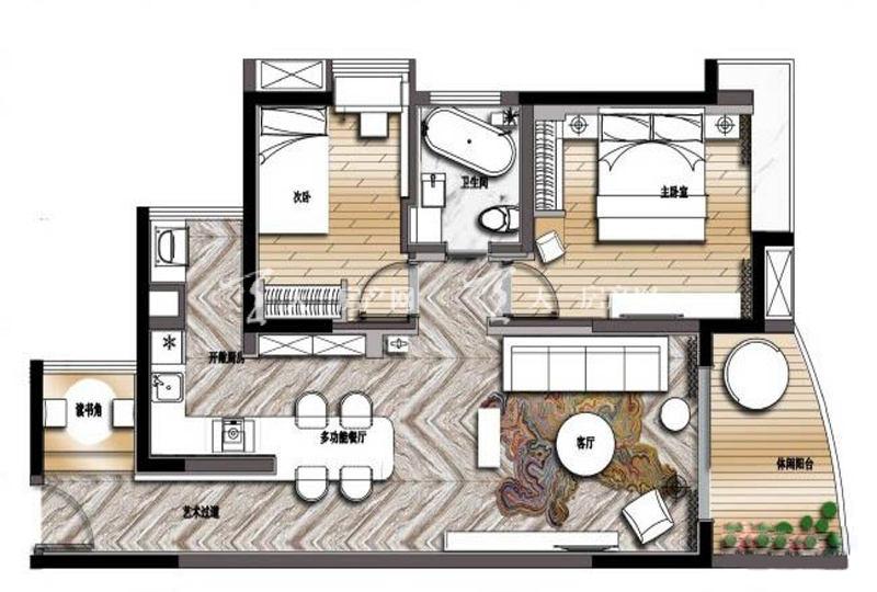 大華·錦繡海岸85平米戶型2室2廳1衛1廚85.00㎡