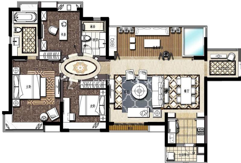 大華·錦繡海岸135平米戶型3室2廳2衛1廚135.00㎡