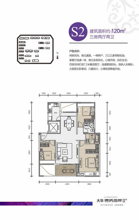 戶型S2三房兩廳兩衛120㎡