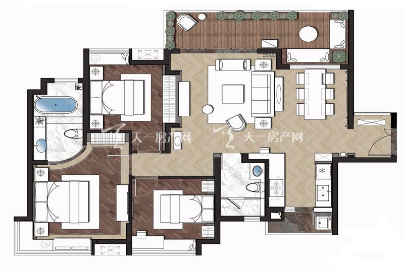 大華·錦繡海岸110平米戶型3室2廳2衛1廚110㎡