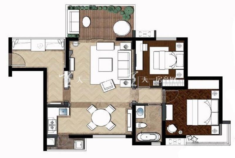 大華·錦繡海岸95平米戶型2室2廳1衛1廚95.00㎡