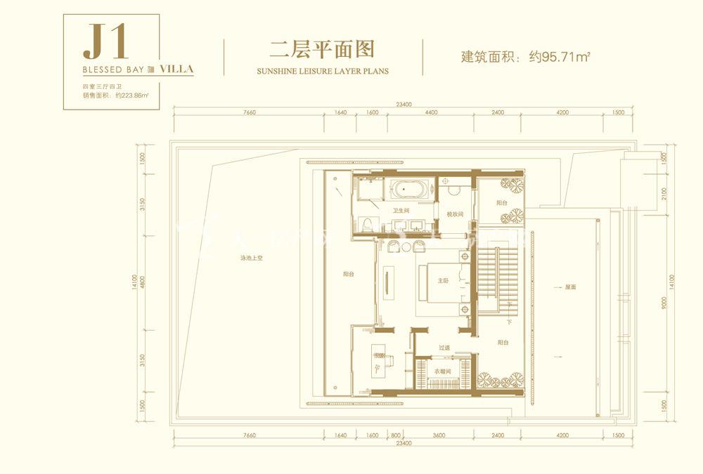 葛洲壩海棠福灣J1戶型 4室3廳4衛 141㎡二層平面圖