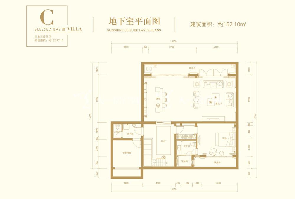葛洲壩海棠福灣C戶型 3室3廳5衛 163㎡地下室平面圖