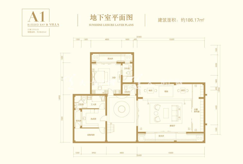 葛洲壩海棠福灣A1戶型 3室3廳6衛 161㎡地下室