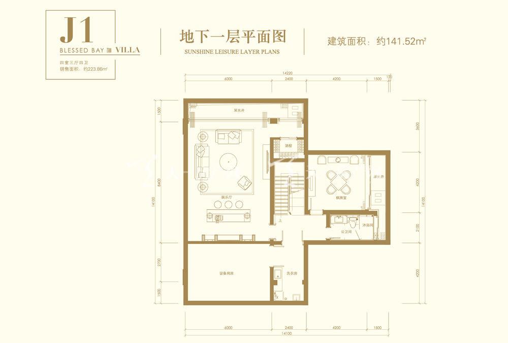 葛洲壩海棠福灣J1戶型 4室3廳4衛 141㎡地下一層平面圖