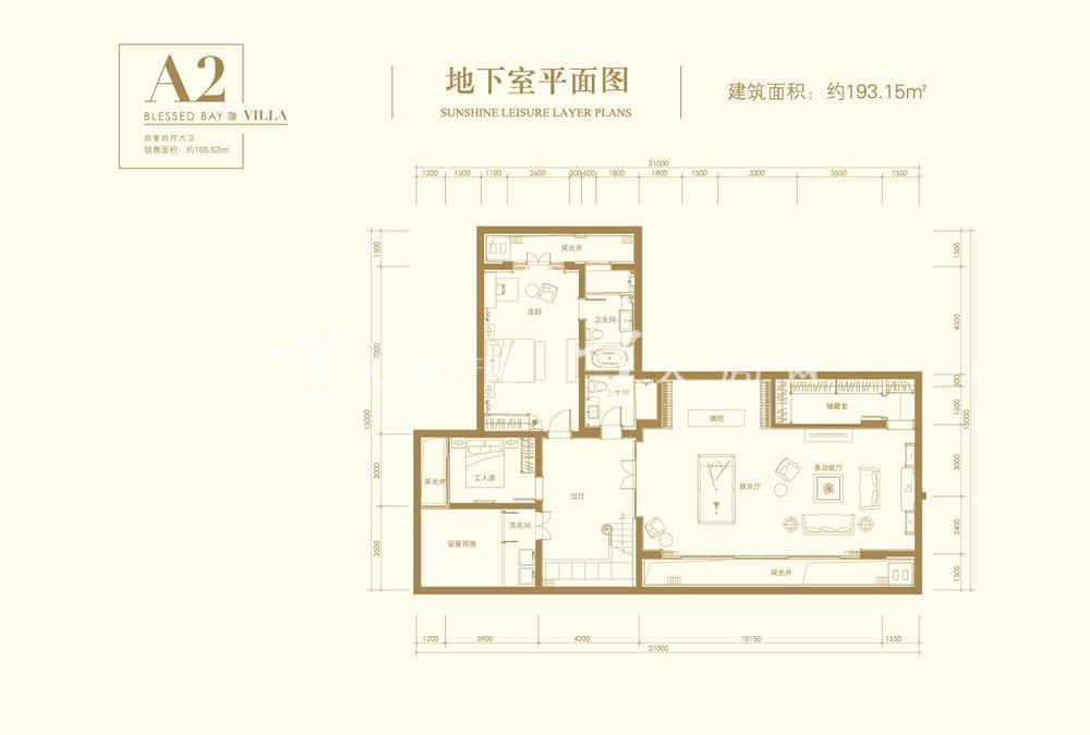葛洲壩海棠福灣A2戶型 4室4廳6衛 193㎡地下室平面圖