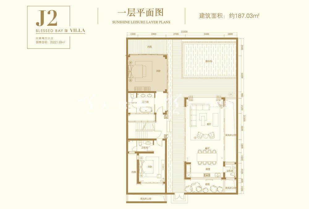 葛洲壩海棠福灣J2戶型 4室2廳6衛 187㎡一層平面圖