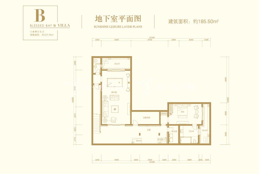 葛洲壩海棠福灣B戶型 3室2廳5衛 152㎡地下室平面圖