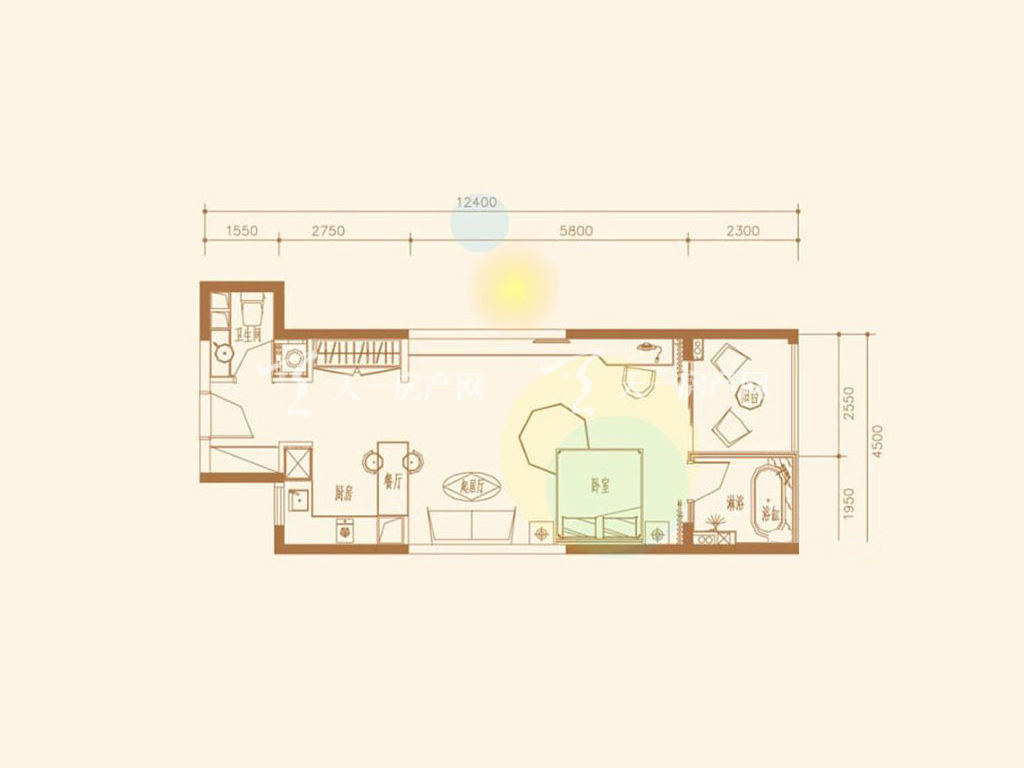 A2户型1室1厅1卫1厨建筑面积67.73㎡.jpg