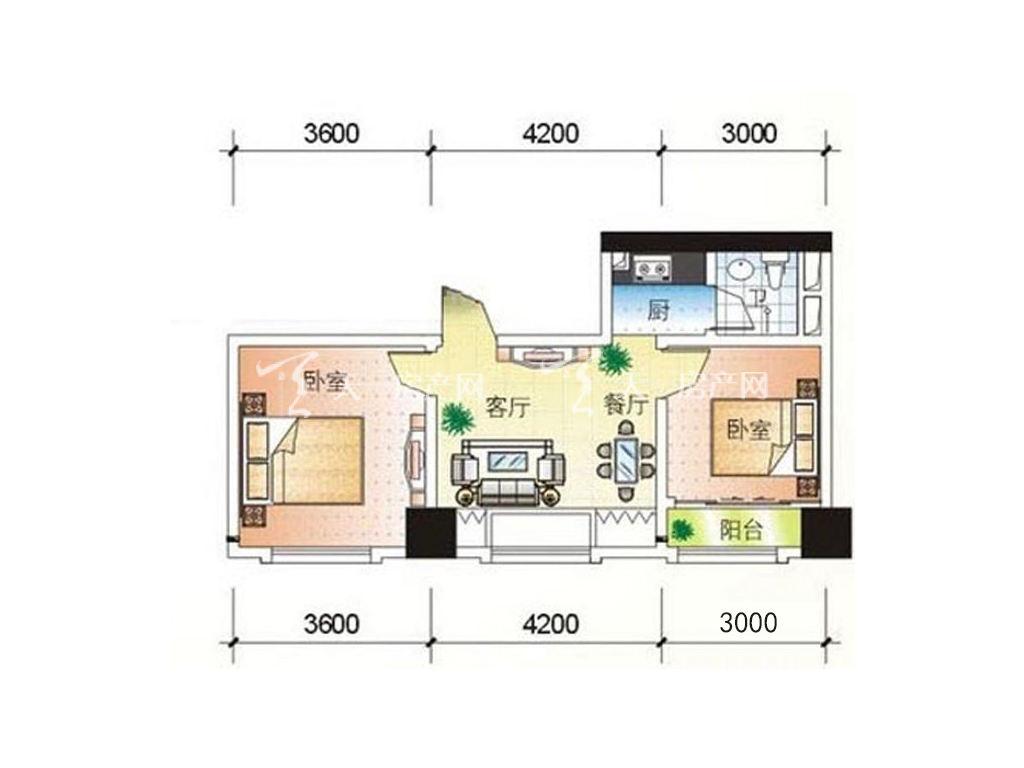 H户型2室2厅1卫1厨建筑面积68.69㎡jpg.jpg